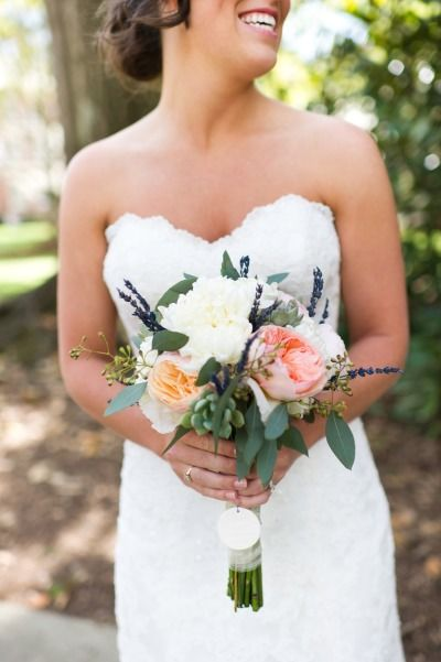 Colorful spring wedding with a lovely lace wedding dress by Maggie Sottero.