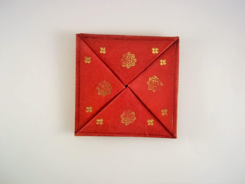 design 2 Moroccan leather purse wallet handmade orange SMALL