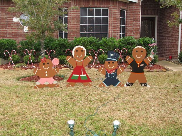gingerbread man christmas yard decoration updated painted woodwood crafts