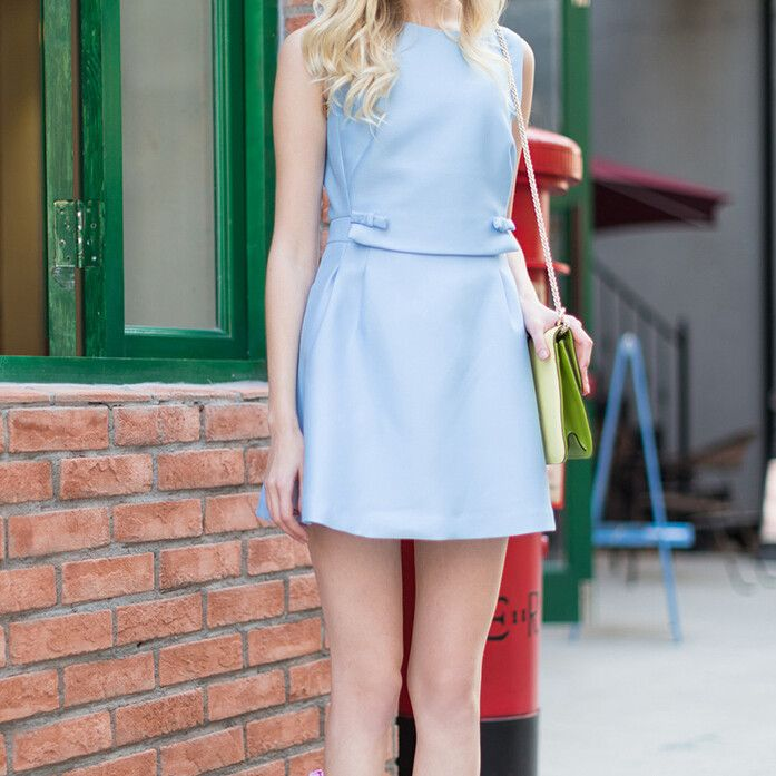 Blue Round Neck Sleeveless Dress with Bowknot Detail