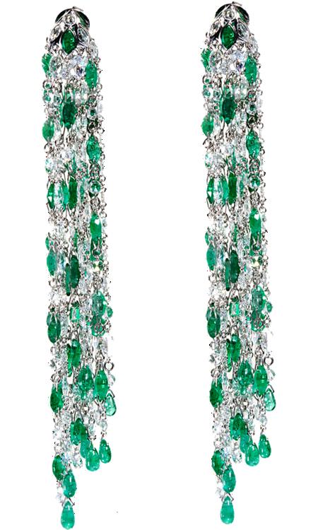 Sidney Garber Emerald Diamond Waterfall Earrings 18k White Gold Consisting Of A Brilliant Cascade 260 Rose Cut Diamonds