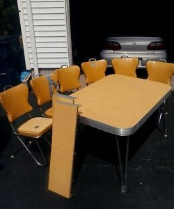 1950 Chrome Tables | 1950s YELLOW FORMICA TABLE Chrome Atomic W/ 6 Vinyl  Chairs Retro