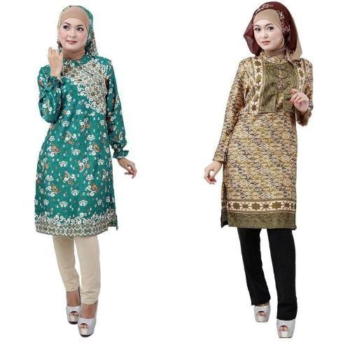 Model Baju Batik Kantor Wanita Berjilbab