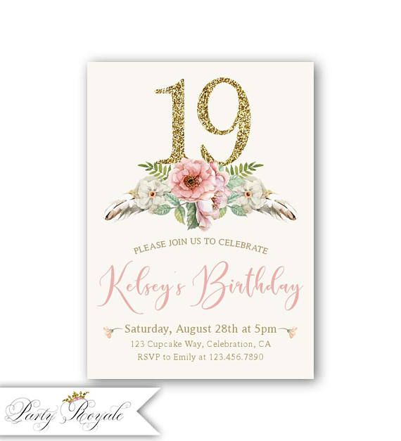 17th 18th 19th Birthday Invitation For A Girl Girls