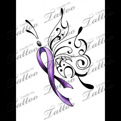 Survivor Butterfly Crohns Tattoo Cancer Ribbon Tattoos Purple Ribbon Tattoos