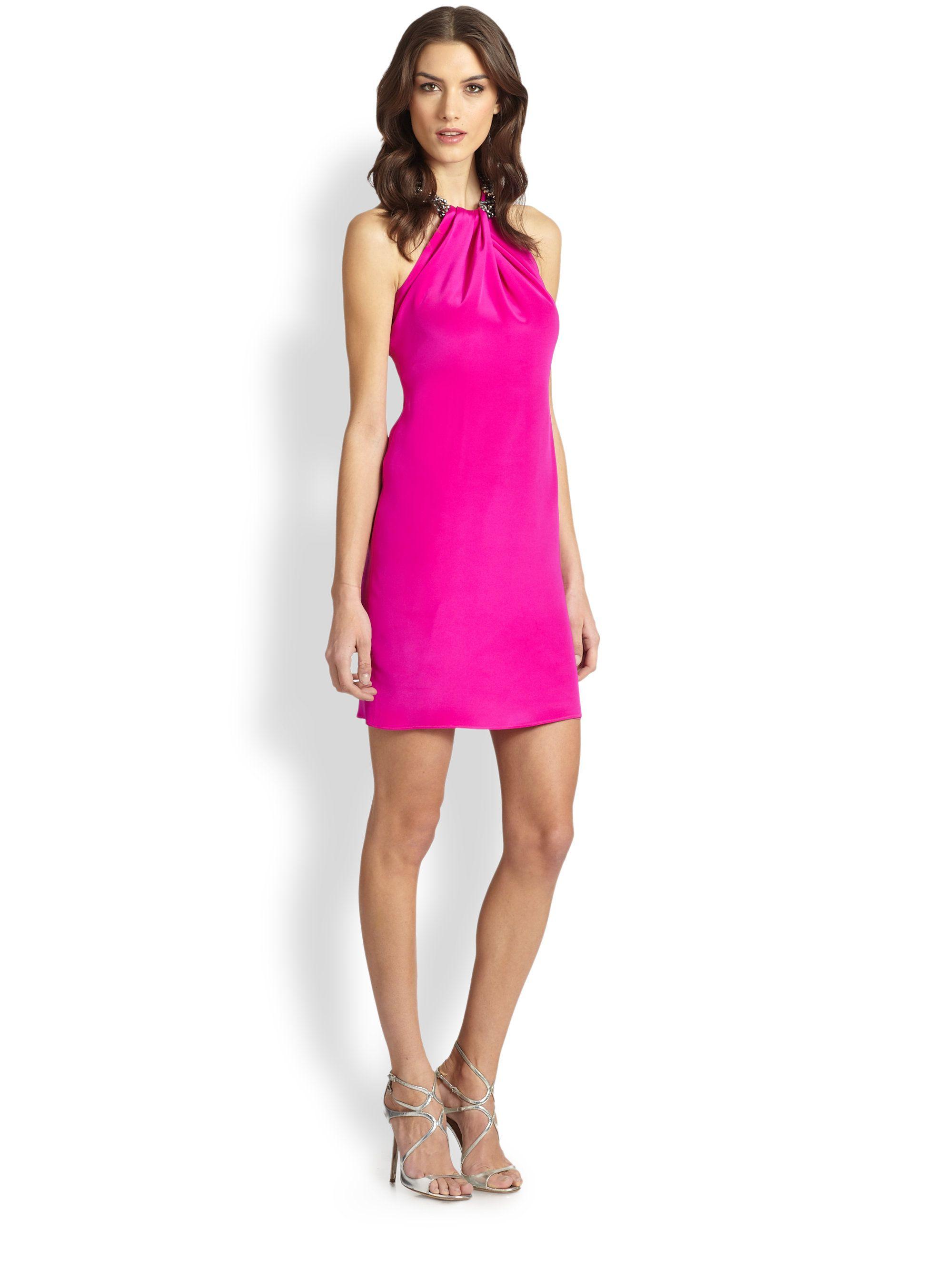 Pink cocktail dress for wedding  Carmen marc valvo Embellished Silk Cocktail Dress in Pink  Lyst