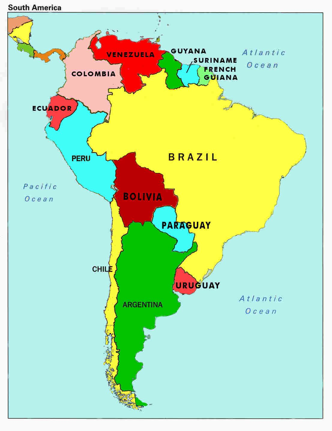 South America Single States Map With Capitals National Borders - Us map with south