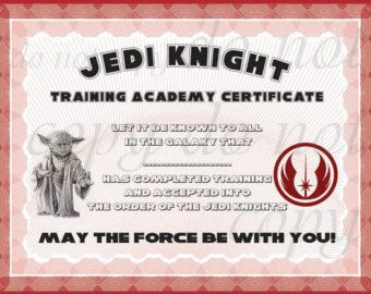 Instant dl jedi knight certificate star wars birthday party instant dl jedi knight certificate star wars birthday by orshajo yadclub Gallery