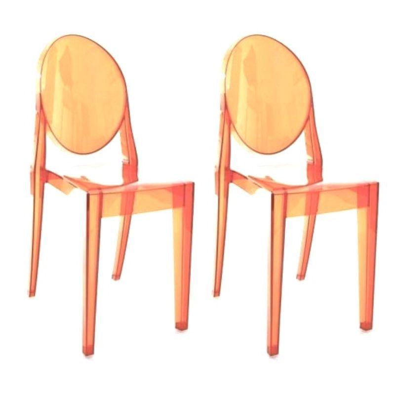 Phillip Starck Victoria Ghost Chair In Orange   2   $660 Est. Retail   $250