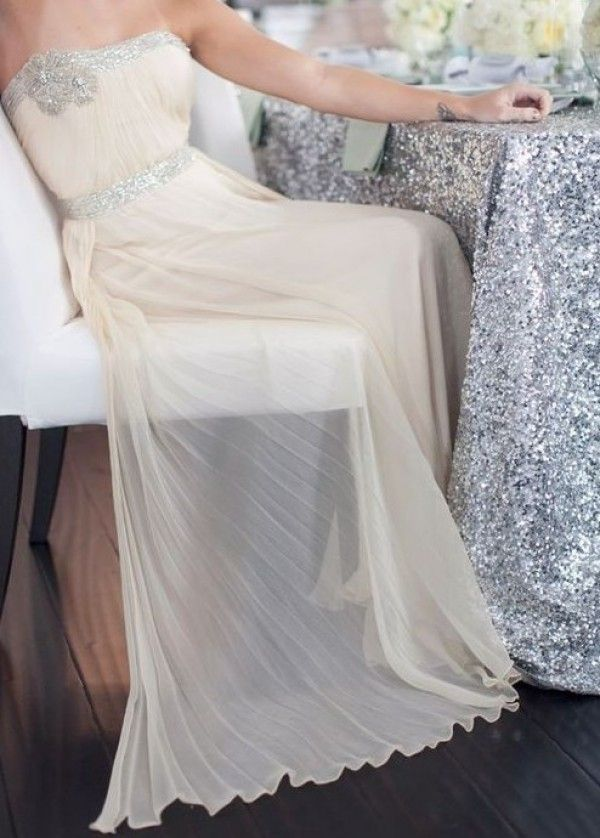 glitter wedding dress, wedding table linens, wedding reception