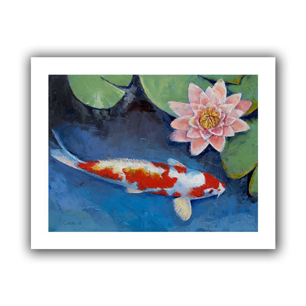 Koi And Water Lily By Michael Creese Painting Print On