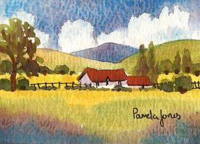 Aceo Original Watercolour Hillside Cottage Landscape Miniature