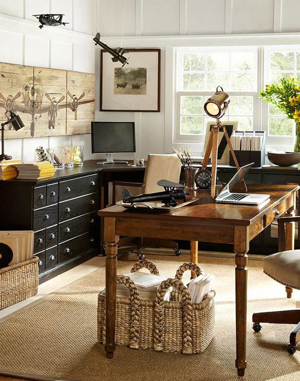 Delightful Pottery Barn Office   Love The Airplane Picture!