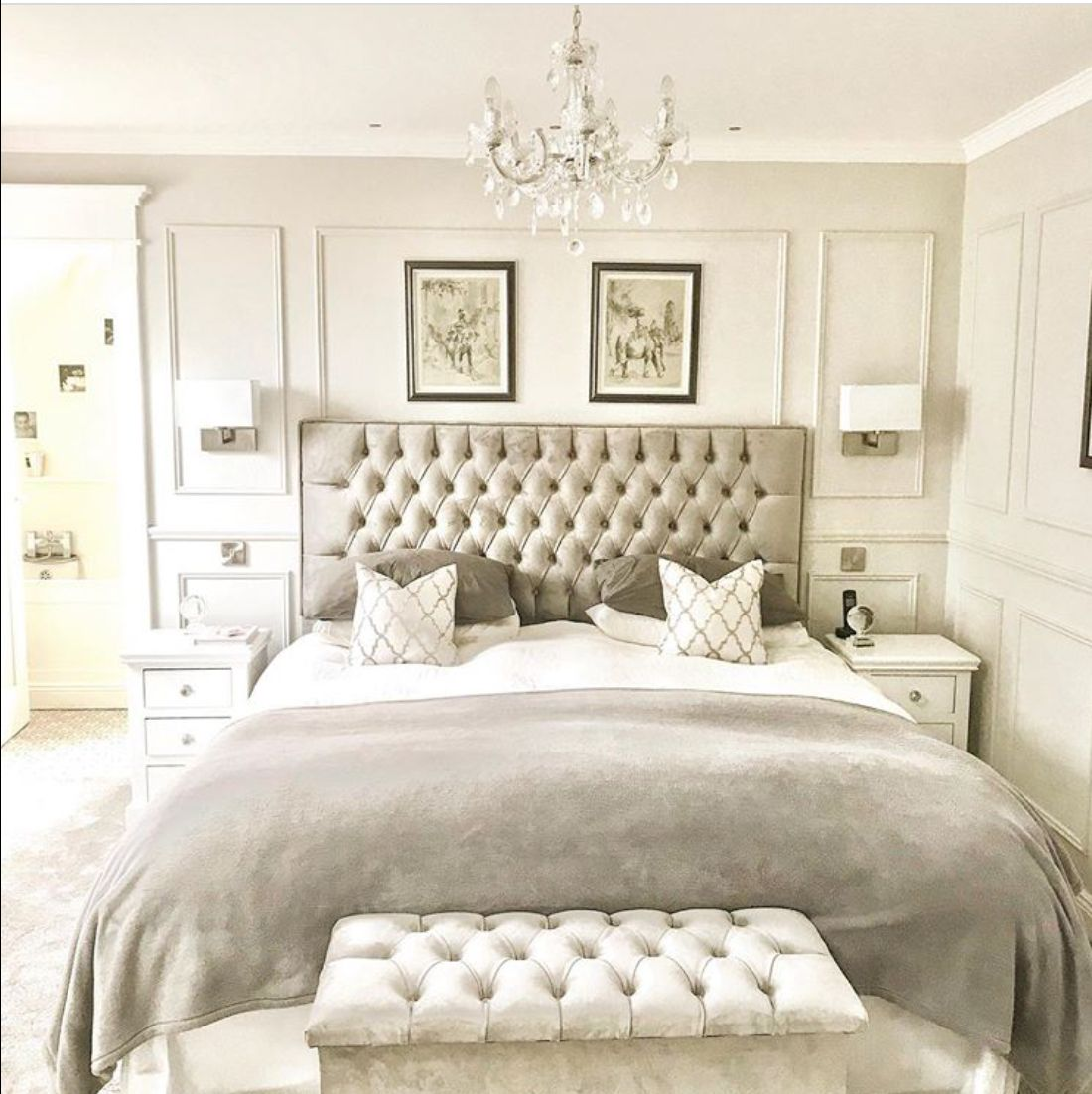 A cream bedroom with paneling bedroom creambedroom in