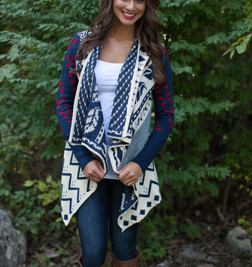 Red White Navy Blue Aztec Tribal Navajo Asymmetrical Open Drape ...