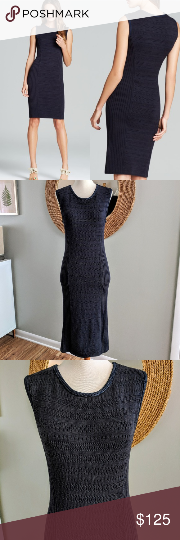 4359f408a19 Tory Burch Penelope Sleeveless Sweater Dress Navy blue body hugging  pointelle and ribbed knit dress. Mesh like lining.  Cotton rayon nylon spandex.