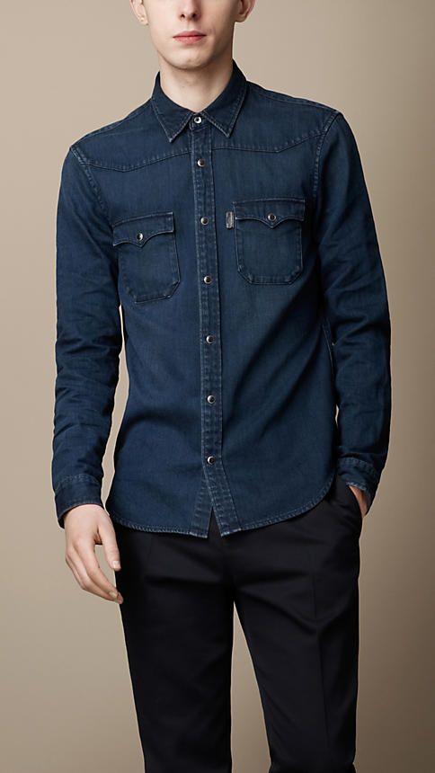 Burberry Brit Overdyed Denim Shirt Elegante Sport, Mens Clothing Brands,  Denim Jeans Men, 73d2eb075814