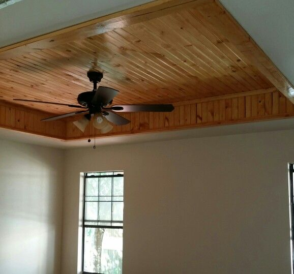 Tray Ceiling With Tongue And Groove Beaded Board Stained My Hubby Designed And I Love Tray Ceiling Beadboard Log Cabin Decor