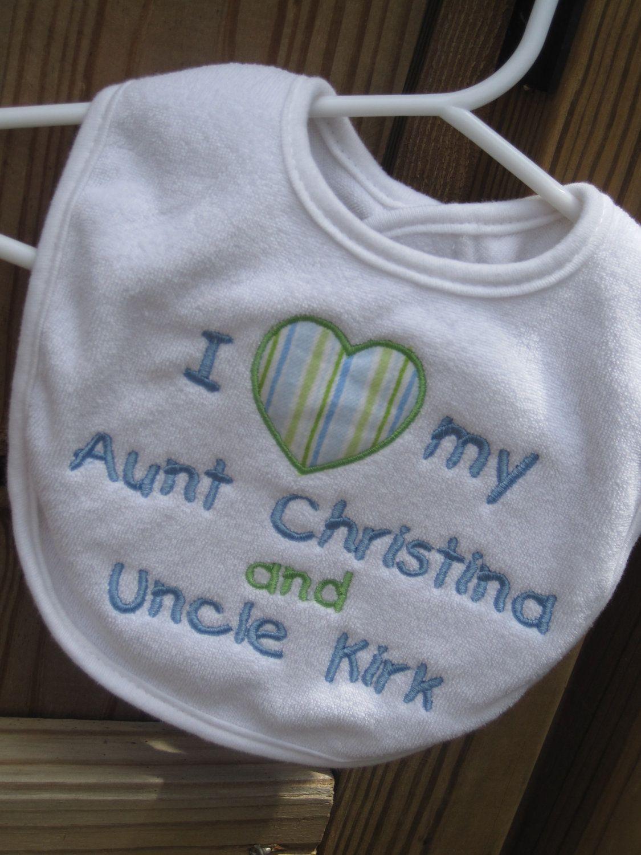 I love my cousin/aunt/uncle/grandma/grandpa bib Personalized