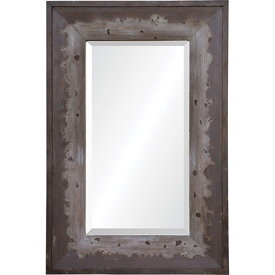 Mykonos 24 X 36 Rectangle Framed Wall Mirror In Brown Grey Framed Mirror Wall Frames On Wall Rustic Frames