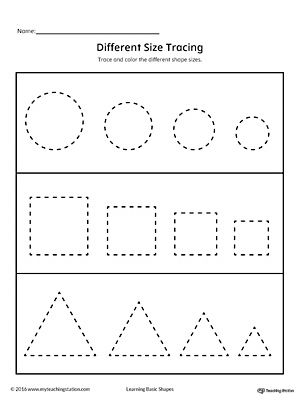 Tracing Different Size Shapes Circle Square Triangle Shape Tracing Worksheets Shapes Preschool Triangle Worksheet