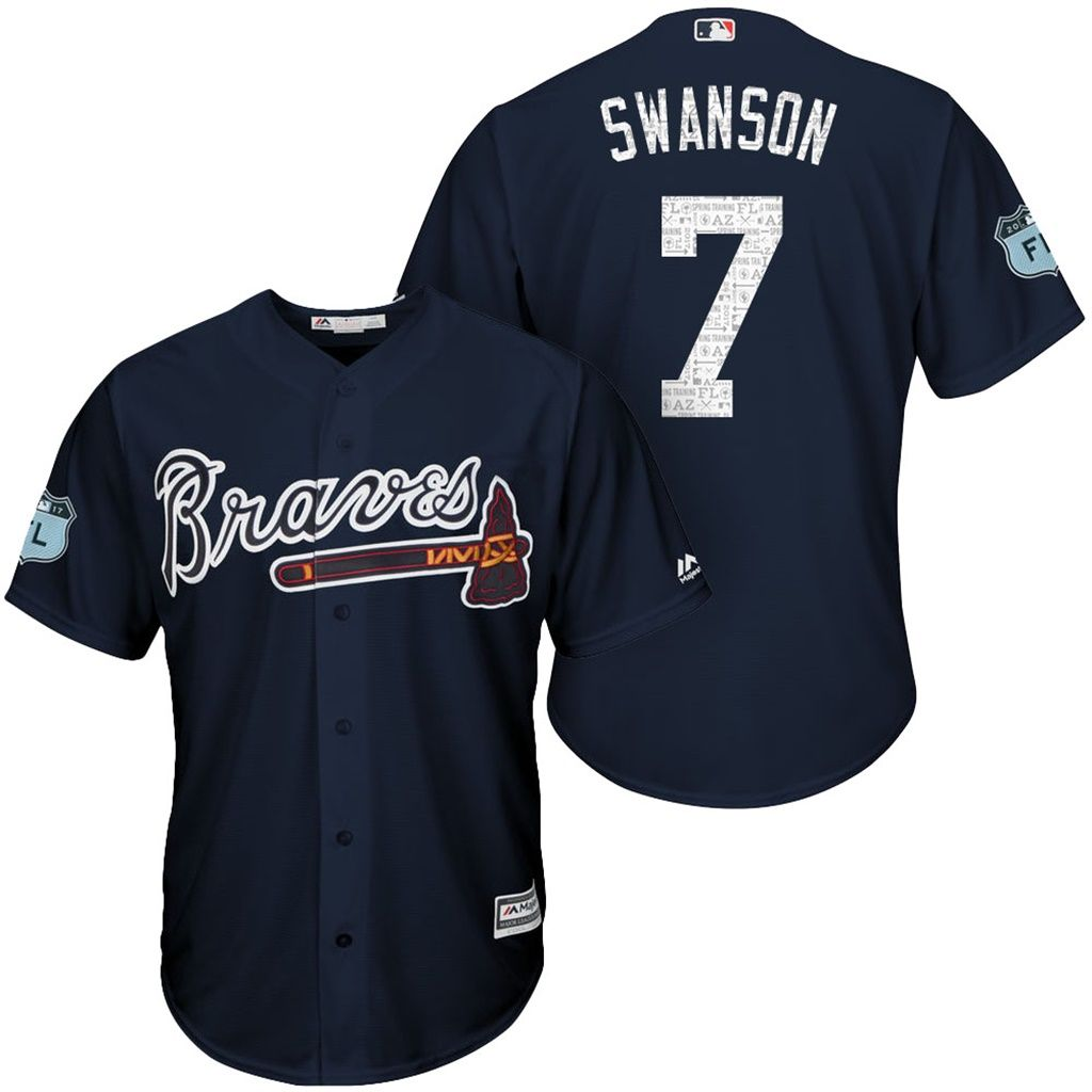55ca8d5a9 ... grey road womens stitched mlb jersey 2fda0 4f325  switzerland mens 7  dansby swanson braves 2017 spring training cool base jersey e2282 f9f06