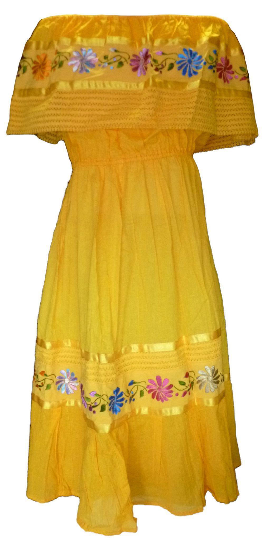 Mexican Floral Crochet Dress Yellow Traditional Mexican Dress Fiesta Dress Floral Crochet Dress [ 2048 x 1001 Pixel ]