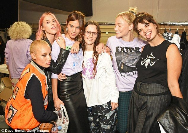 Showing their support: The gal pals went backstage to congratulate the designer…