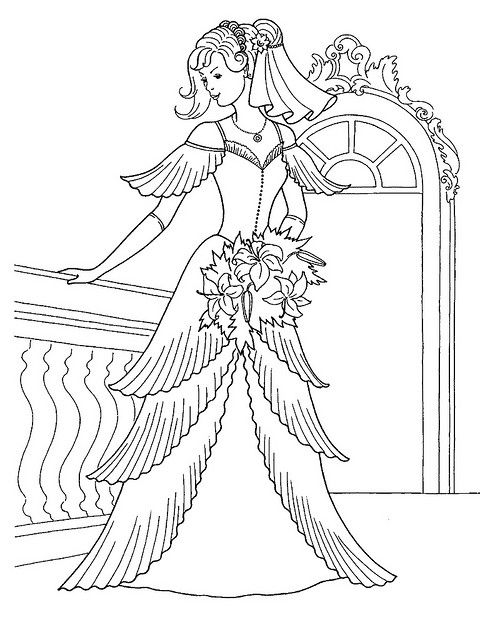 Princess In Her Wedding Dress Coloring Page Wedding Coloring Pages Princess Coloring Pages Barbie Coloring Pages