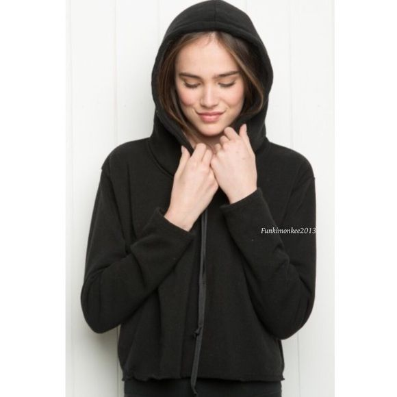 Brandy Melville black fleece lined Lennon hoodie Nwt Brandy Melville Sweaters