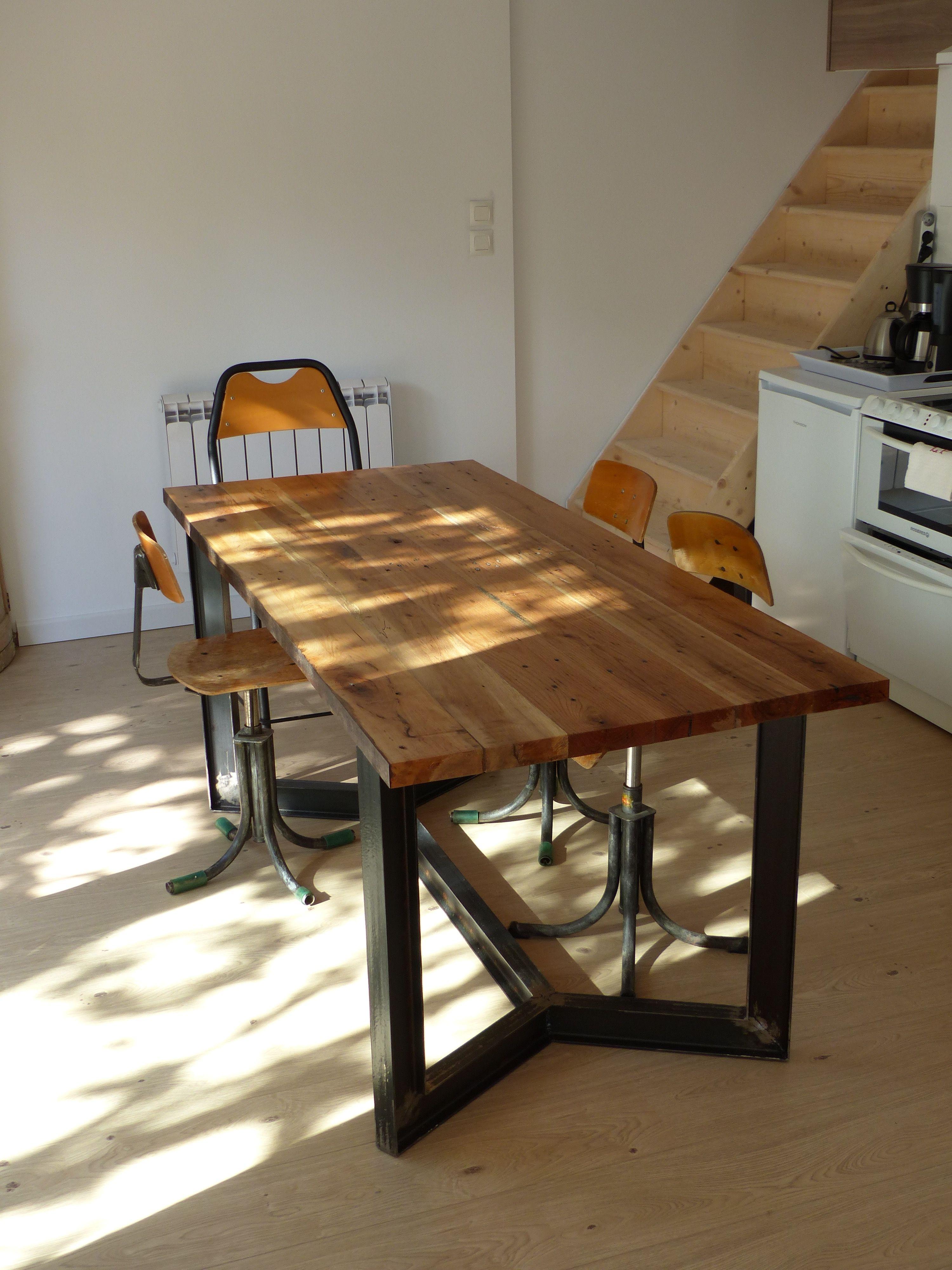 Table Repas /// Dinner Table Bois Palette U0026 IPN Métal Reclaimed Wood