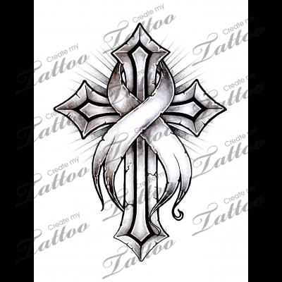Marketplace Tattoo Cancer Ribbon Cross 16220 Createmytattoocom