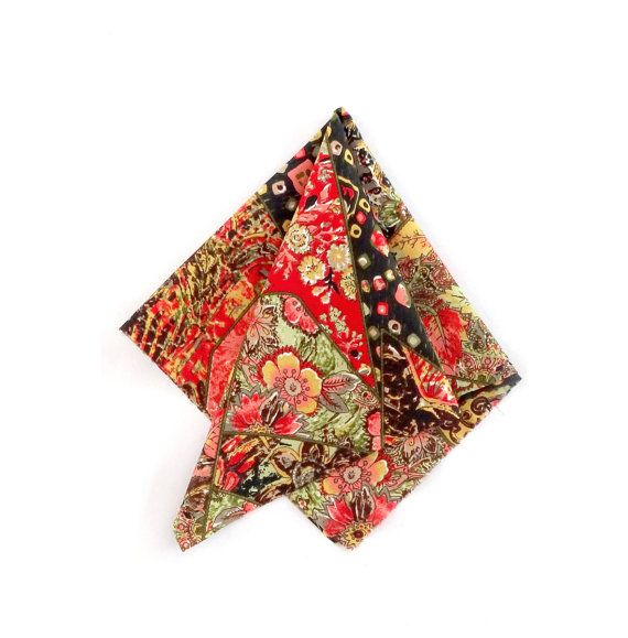 detailed floral Pocket Square Multicolored for the perfect gentleman by detailsforus on Etsy