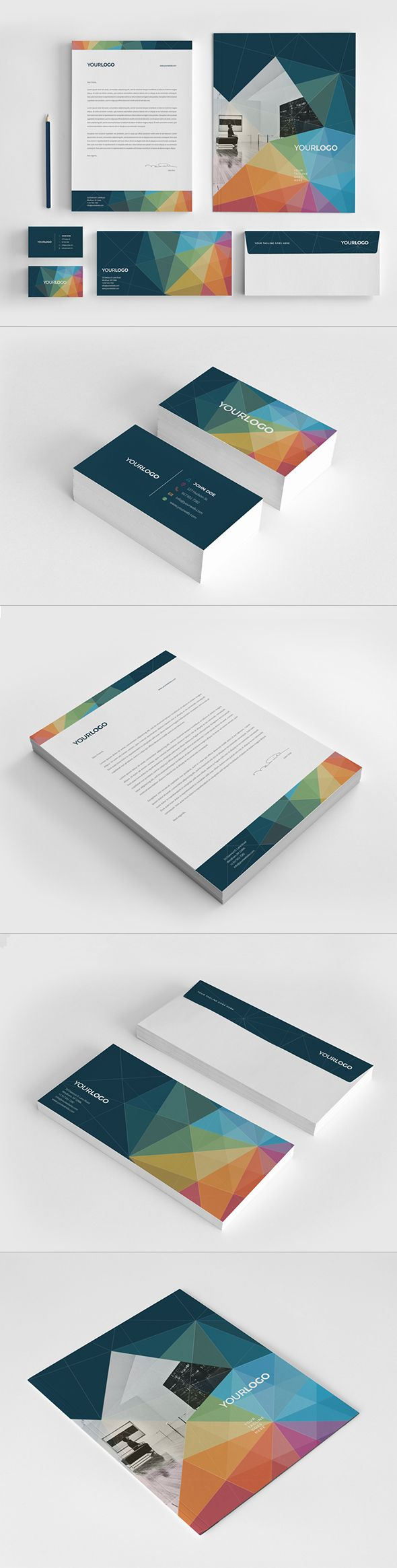 Multicolor Modern Stationery Pack on Behance: