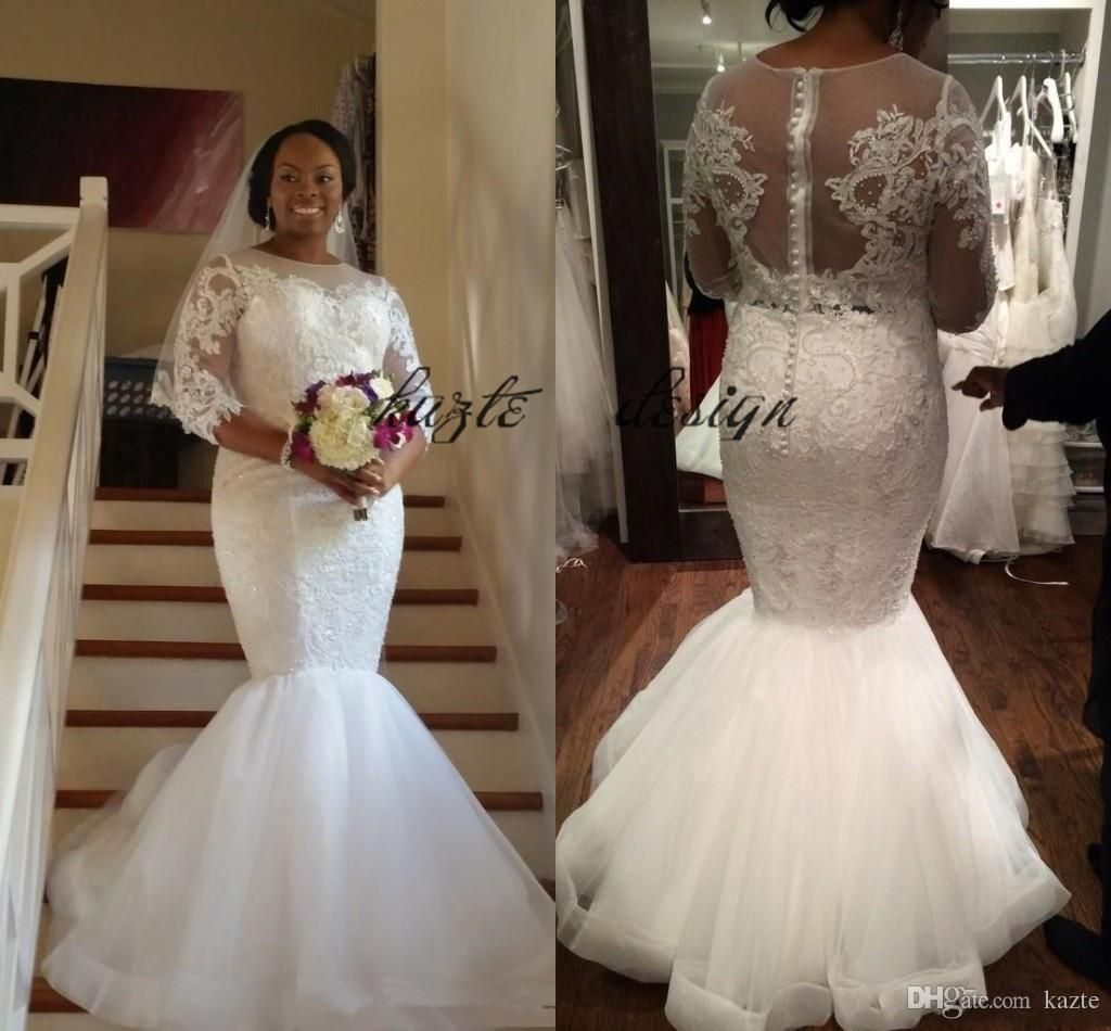 Sexy Lace Mermaid Plus Size Wedding Dresses with Sleeves 2018 Modest South  African Nigerian Illusion Trumpet Fishtail Wedding Gown Mermaid Wedding  Dress ... 1c7c46214ffd
