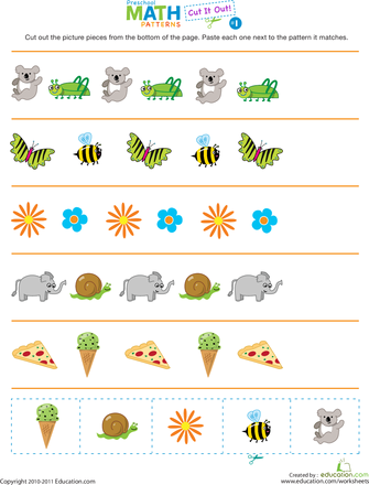 cut it out patterns 1 pre k worksheets preschool worksheets preschool math. Black Bedroom Furniture Sets. Home Design Ideas