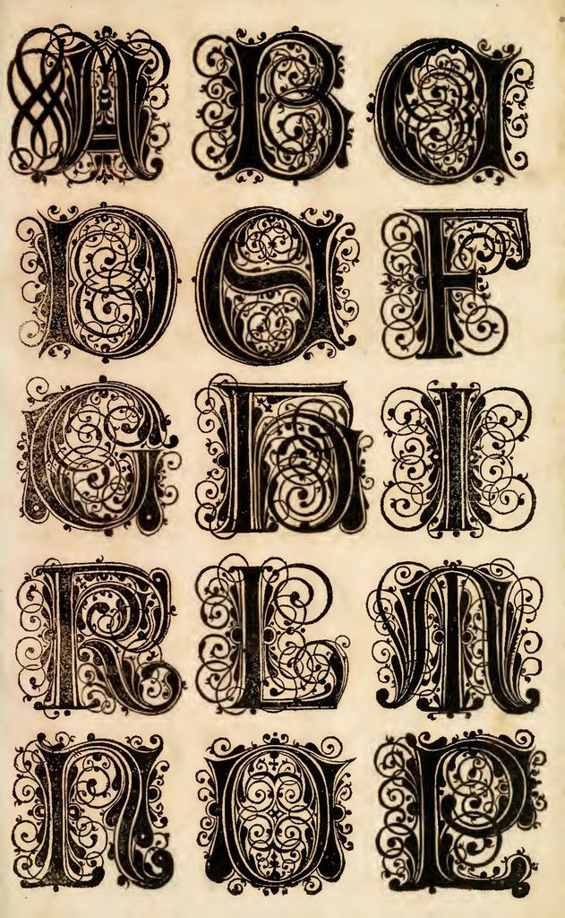 Ornate Lettering Typography alphabet, Cool lettering