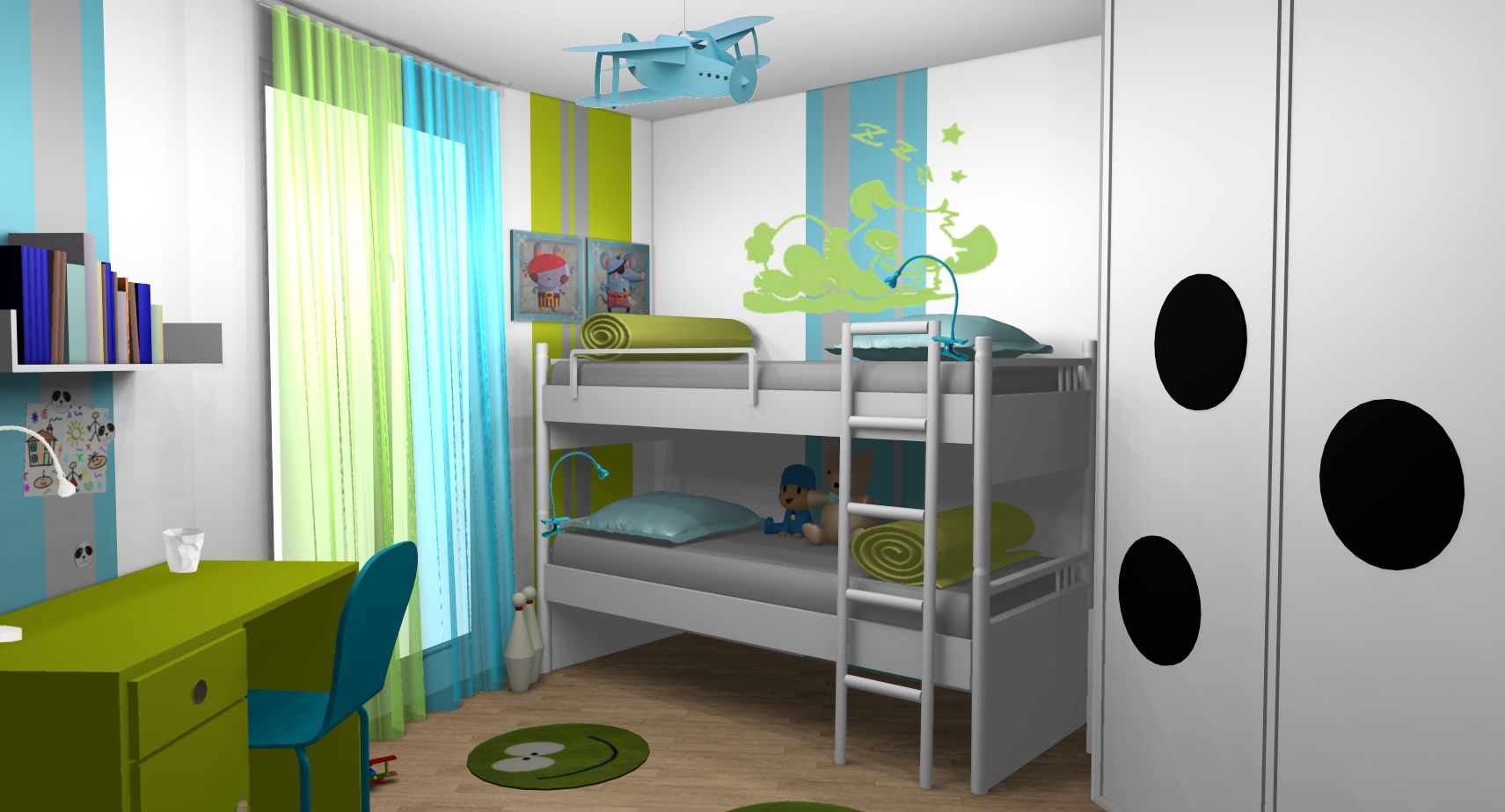 chambre enfant gar ons anis turquoise lits superpos s. Black Bedroom Furniture Sets. Home Design Ideas