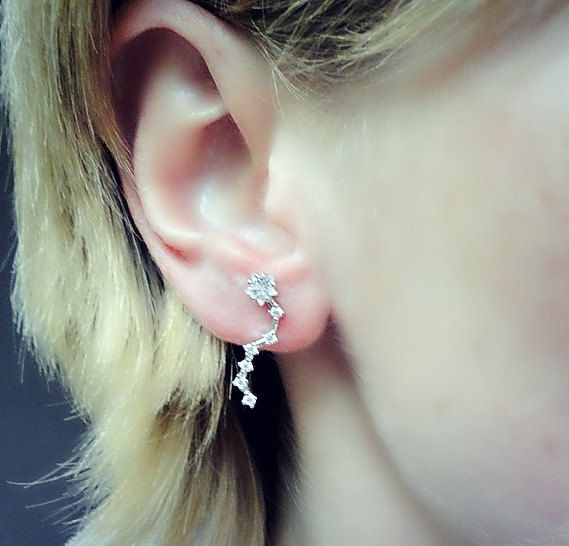 Long silver crystals ear pins silver earrings by laplumeblanche