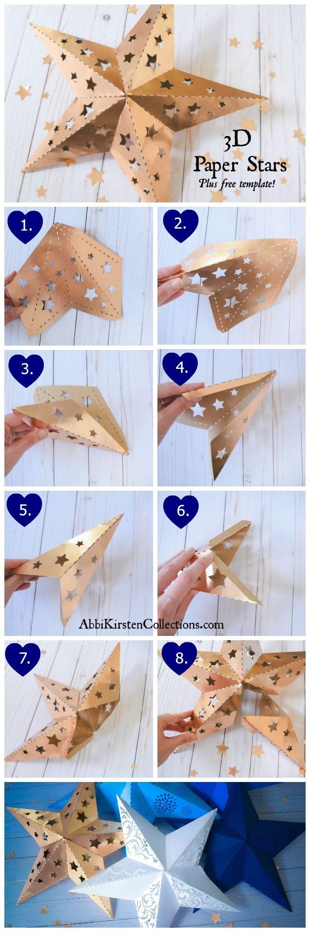 Wedding lanterns 3d paper stars free diy printable star for Paper star pattern template