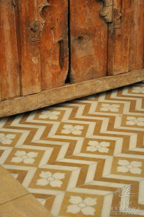 Maharaja 1 Marble Mosaic In Lagos Gold And Heavenly Cream Floors