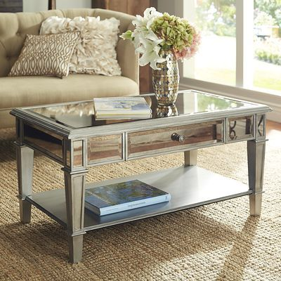 Hayworth Mirrored Silver Coffee Table Mirrored coffee tables