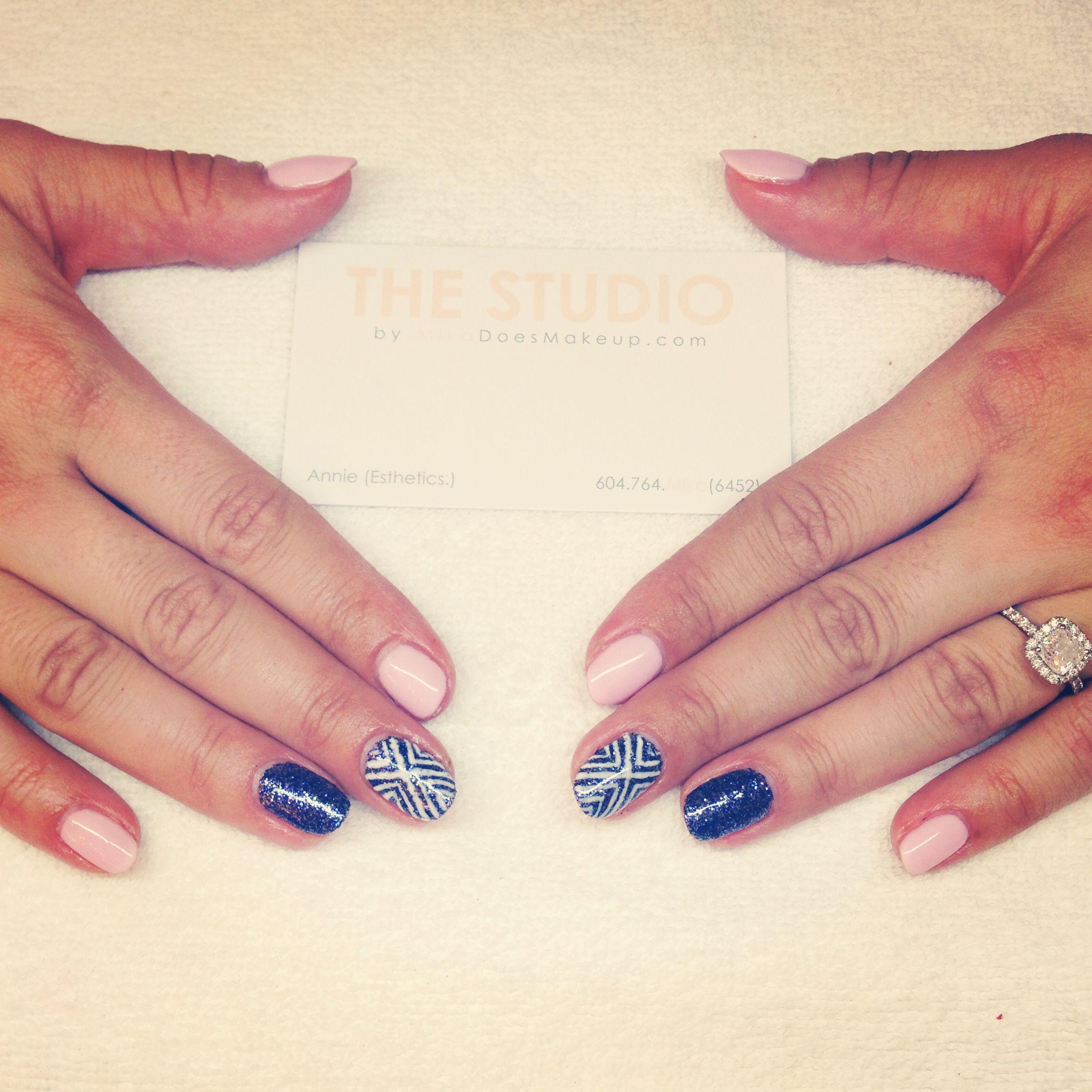 Aztec nail design with purple glitter   Nail Designs   Pinterest ...