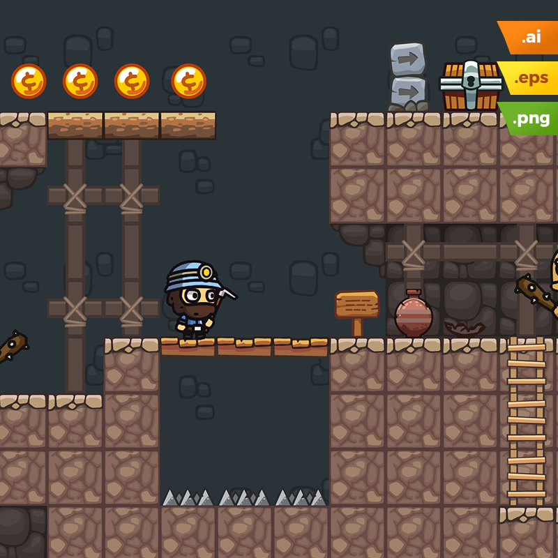 Mine Platformer Tileset 2D Game Level Set di 2020