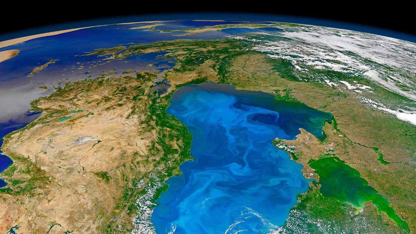 Bloom of microscopic phytoplankton scattered across the surface of the Black Sea (© NASA/Corbis)