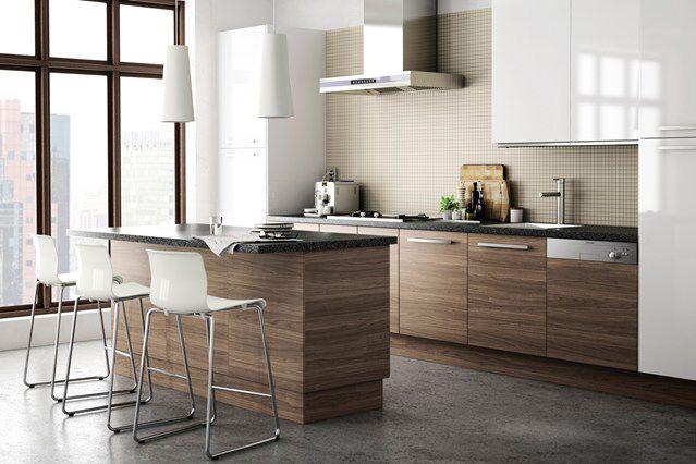 Ikea Walnut Grey White Gloss Black Marble Modern Retro Kitchen