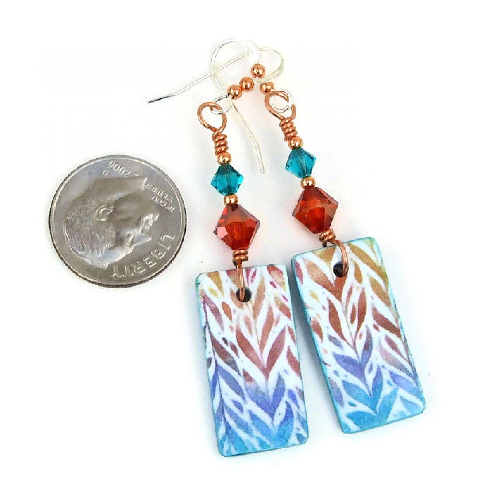 Colorful polymer clay earrings handmade jewelry