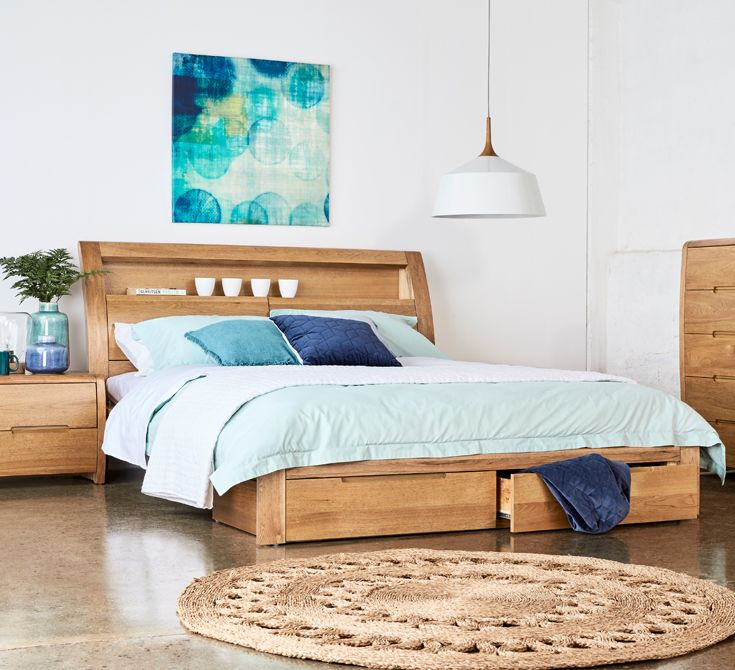 Get Stacks Of Storage With The Linden Timber Bed With Underbed Drawers And Hidden Headboard Storage Too Timber Bed Frames Contemporary Bed Frame Timber Beds