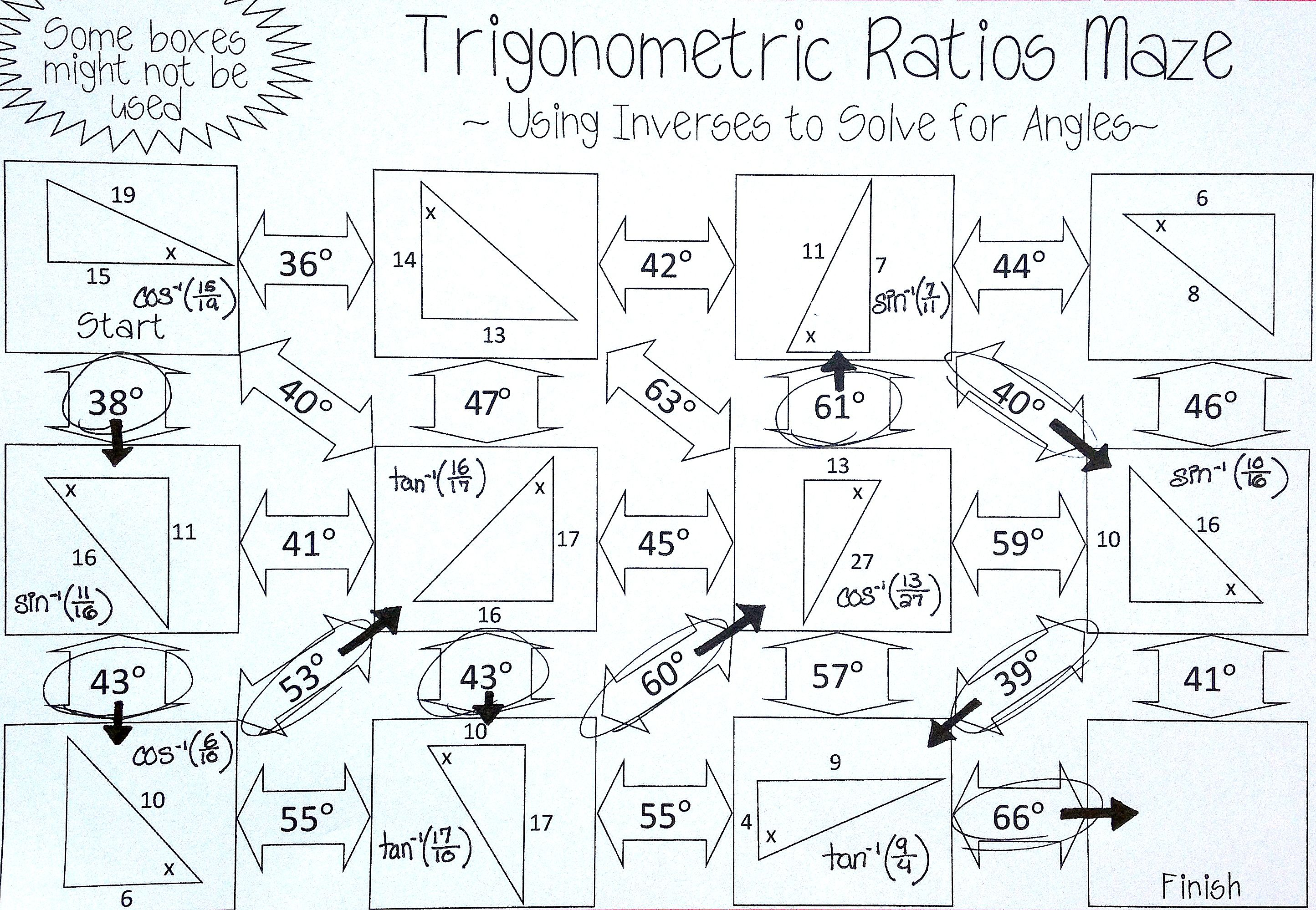 Inverse Trigonometric Ratios Sine Cosine Tangent Maze Solving For Angles Geometry Worksheets Maths Activities Middle School Math Methods