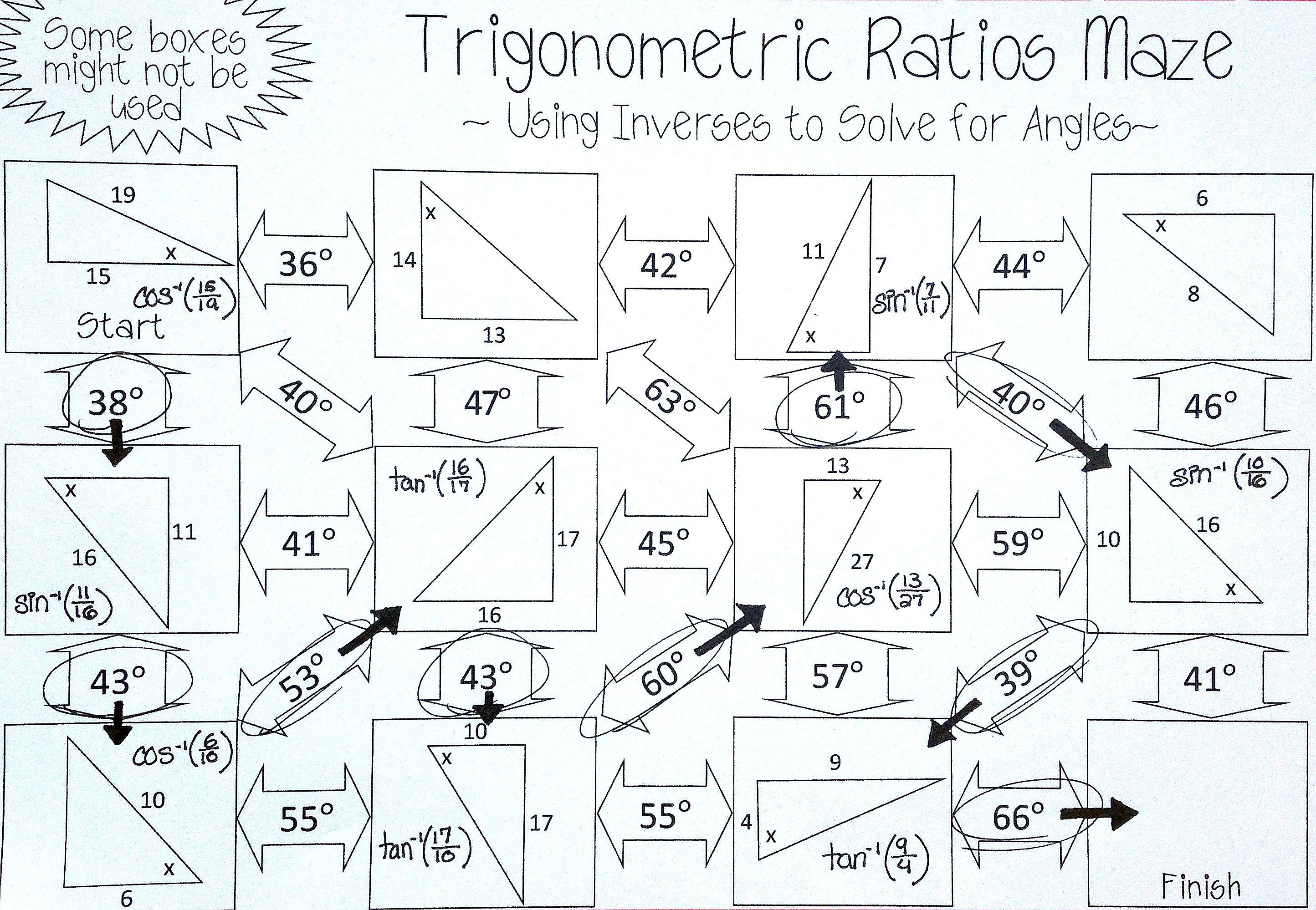 Inverse Trigonometric Ratios Sine Cosine Amp Tangent Maze